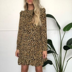 {Who What Wear} ruffle animal print dress